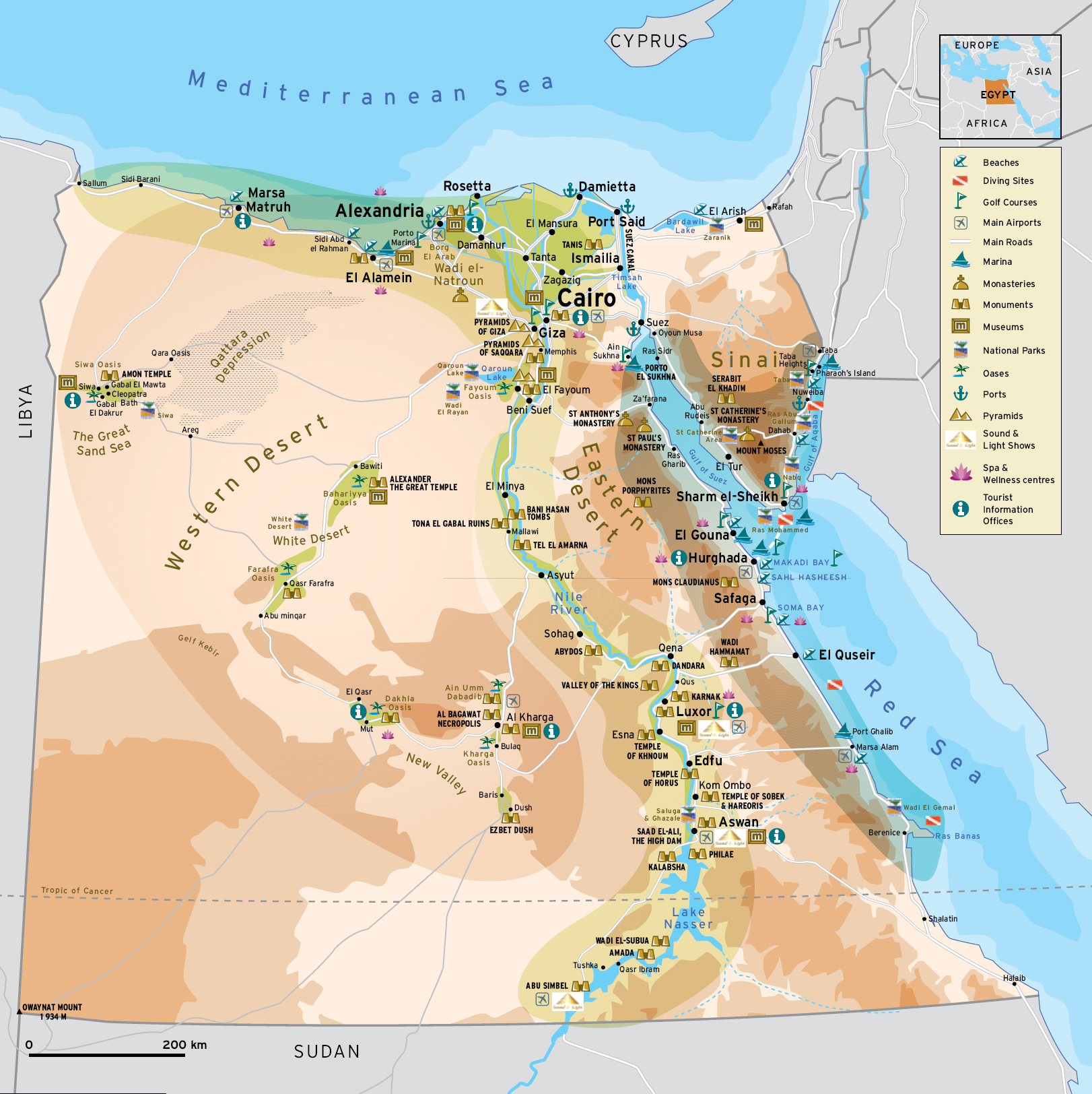 Egypt Maps Egypt General Map Map Of Egypt Memphis Tours